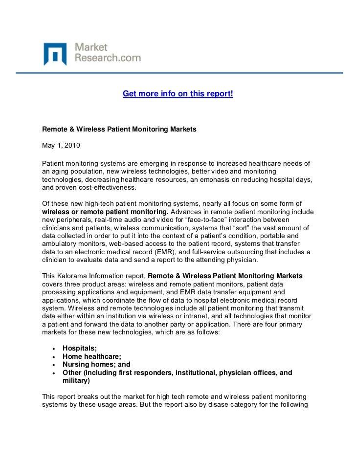 Remote & wireless patient monitoring markets