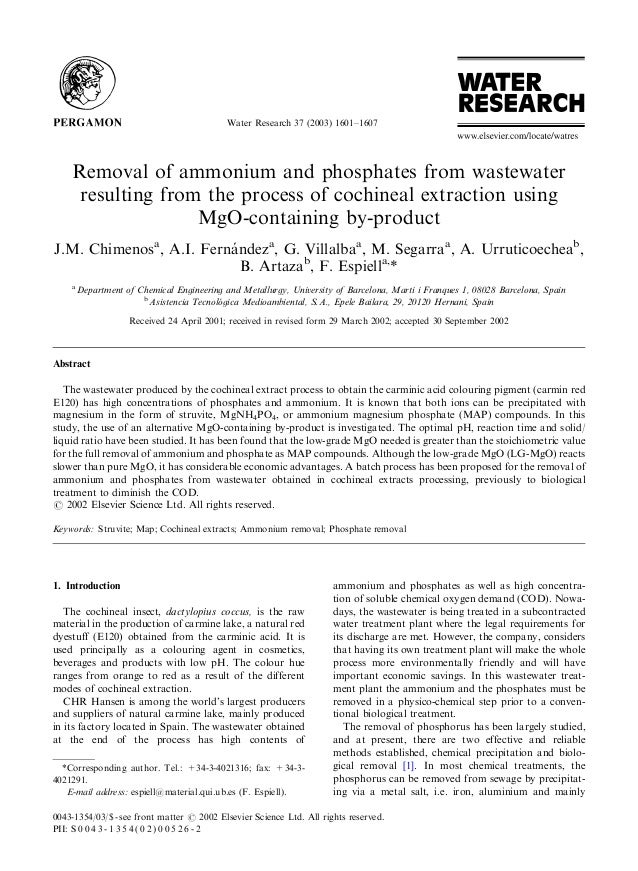 Removal of ammonium and phosphates from wastewater