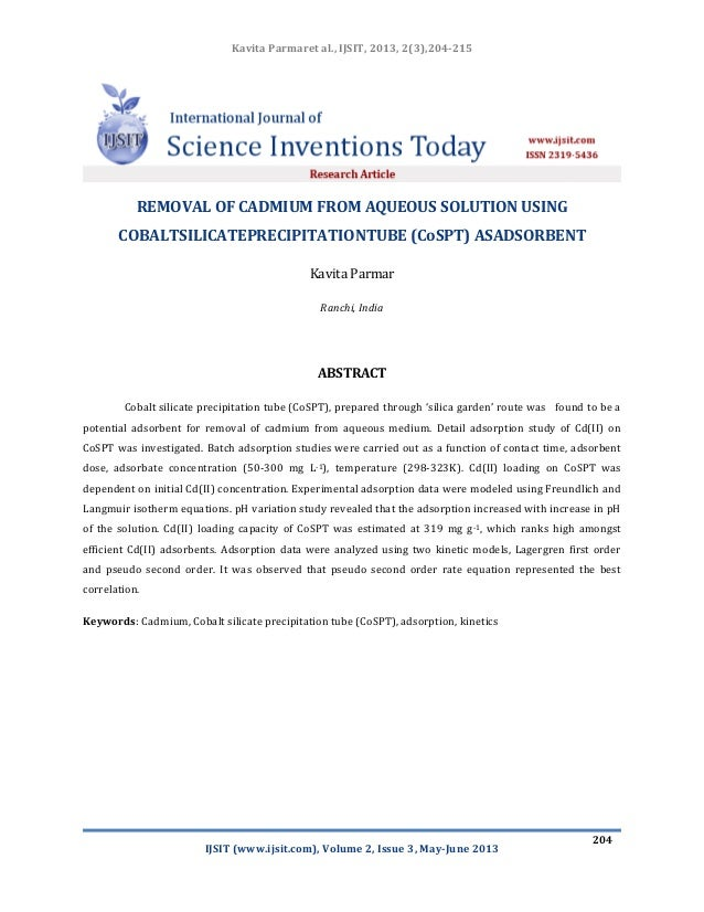 Removal of cadmium from aqueous solution using cobalt silicate precipitation tube (co spt) as adsorbent ijsit_2.3.4