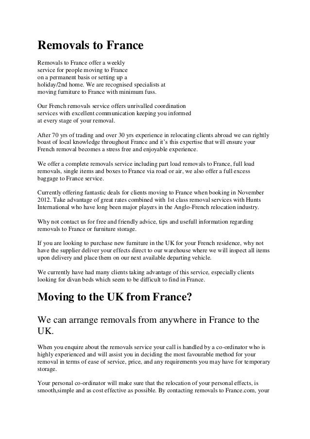 Removals to france