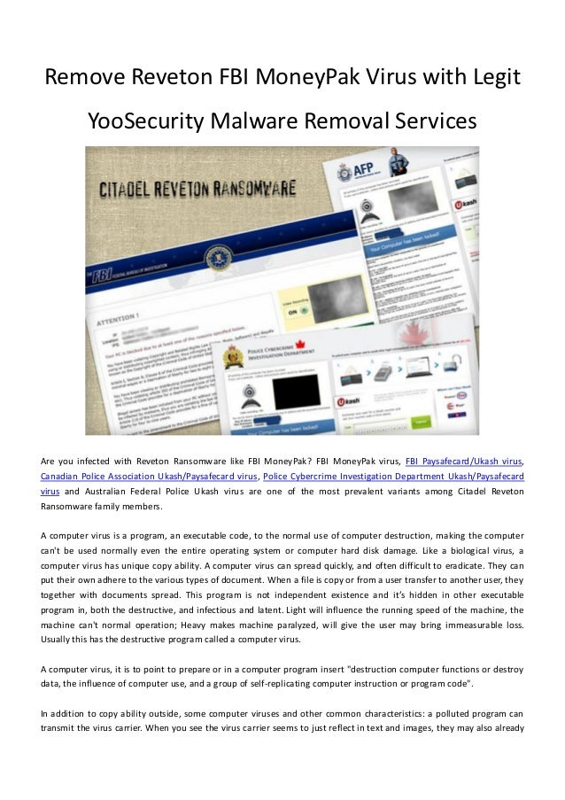 Remove reveton fbi_money_pak_virus_with_legit_yoosecurity_malware_removal_services