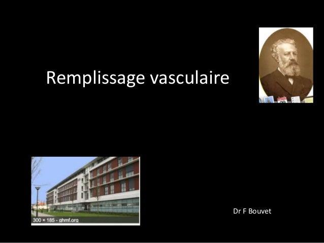 Remplissage vasculaire  Dr F Bouvet