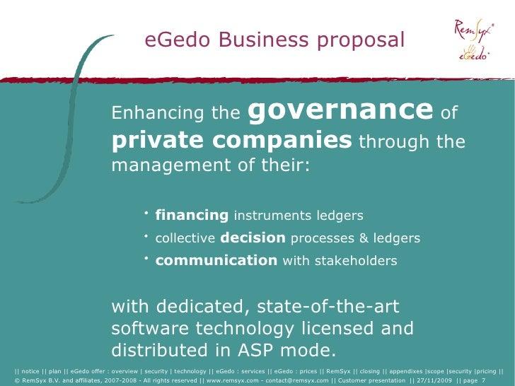 eGedo Business proposal                                    Enhancing the                                  governance of   ...