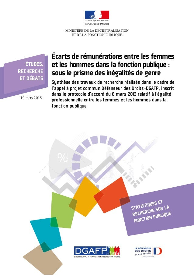 %%%%%% MINISTÈRE DE LA DÉCENTRALISATION ET DE LA FONCTION PUBLIQUE Écarts de rémunérations entre les femmes et les hommes ...