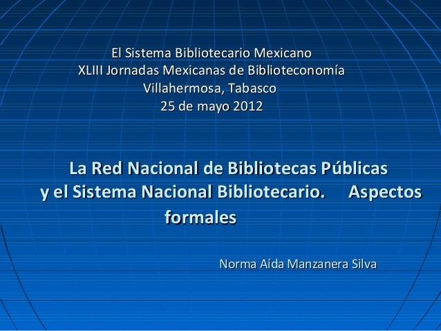 La Red Nacional de Bibliotecas Públicas y el Sistema Nacional de Bibliotecario. Aspectos formales