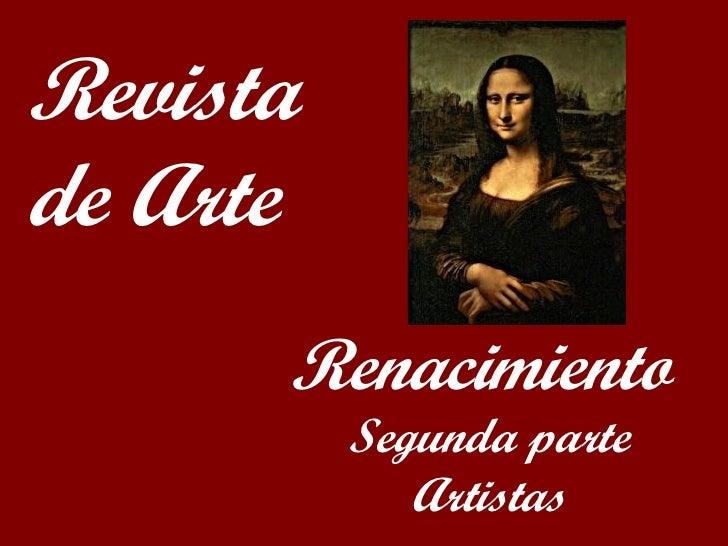 Renacimiento Segunda parte Artistas Revista de Arte