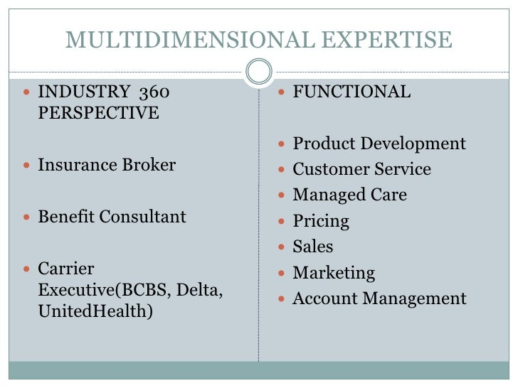 MULTIDIMENSIONAL EXPERTISE<br />INDUSTRY  360 PERSPECTIVE  <br />Insurance Broker<br />Benefit Consultant<br />Carrier Exe...