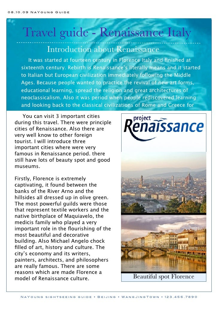08.10.09 NaYoung Guide          Travel guide - Renaissance Italy                Introduction about Renaissance        It w...
