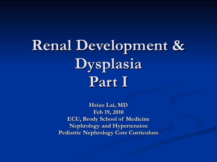 Renal Development & Dysplasia Part I Hsiao Lai, MD Feb 19, 2010 ECU, Brody School of Medicine Nephrology and Hypertension ...
