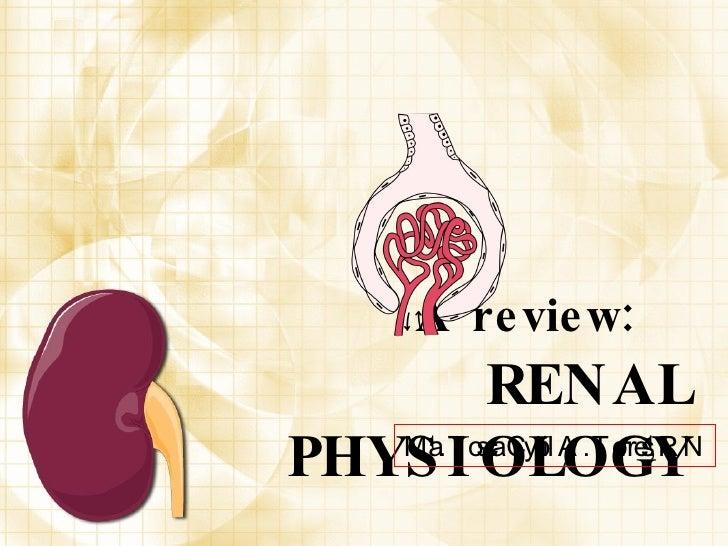 A review:   RENAL PHYSIOLOGY <ul><li>Ma. Tosca Cybil A. Torres, RN </li></ul>