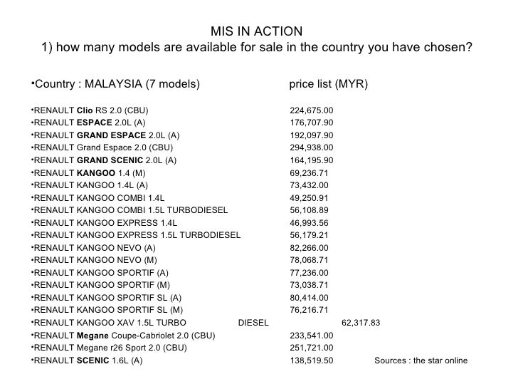 MIS IN ACTION 1) how many models are available for sale in the country you have chosen? <ul><li>Country : MALAYSIA (7 mode...