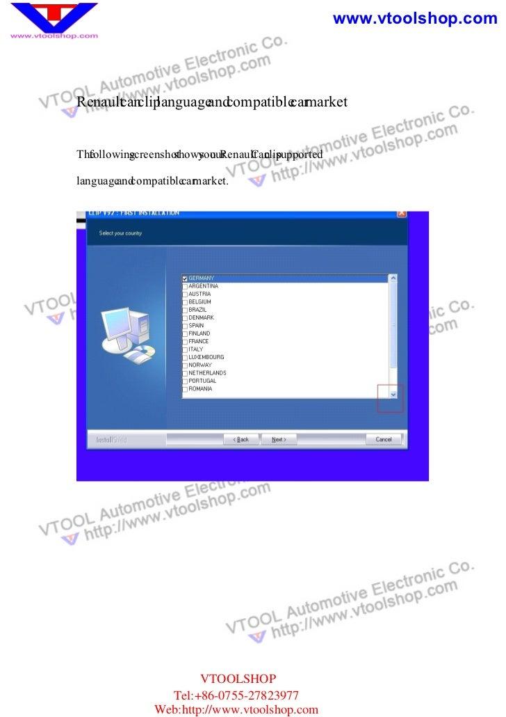 www.vtoolshop.comRenault an language compatible market      c clip      and        carTheollowingcreenshot  f       s     ...