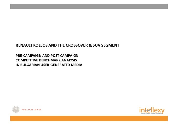 RENAULT KOLEOS AND THE CROSSOVER & SUV SEGMENT PRE‐CAMPAIGN AND POST‐CAMPAIGN  COMPETITIVE BENCHMARK ANALYSIS  IN BULGARIA...