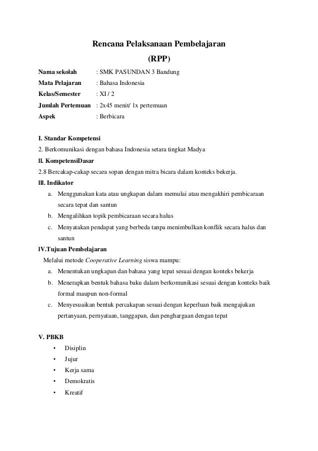 Rpp Bahasa Indonesia Rpp Bahasa Indonesia Kelas Xi Semester 1 Share The Knownledge