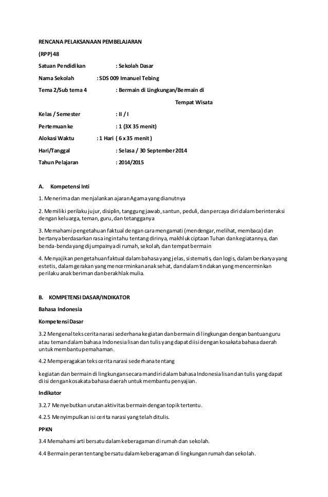 Contoh Rpp Kurikulum 2013 Tematik Kelas Ii Sd
