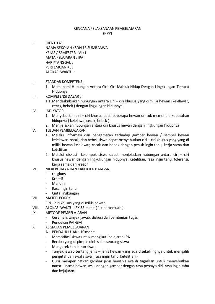 RENCANA PELAKSANAAN PEMBELAJARAN                                       (RPP)I.      IDENTITAS        NAMA SEKOLAH : SDN 16...