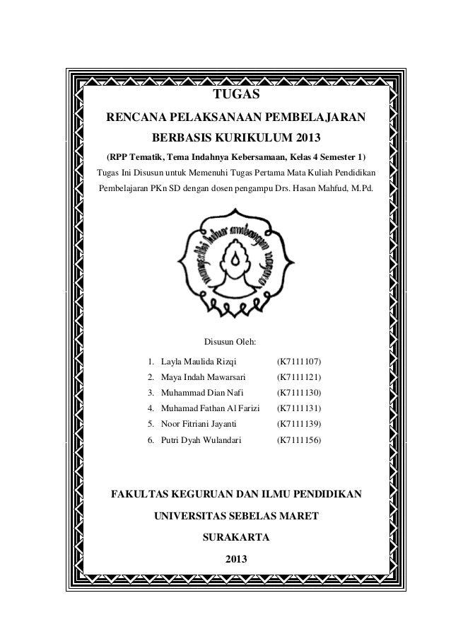 Rencana Pelaksanaan Pembelajaran Pkn Kelas Empat 2013