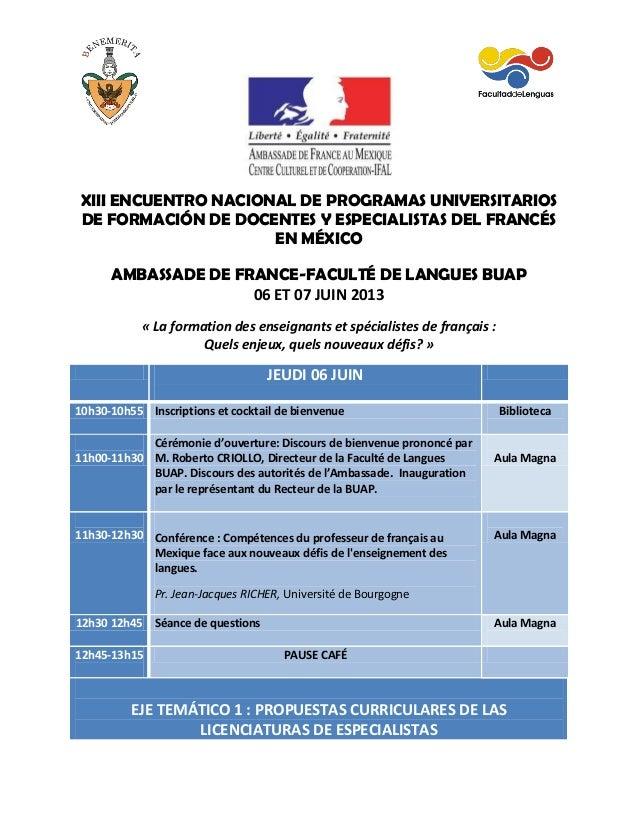 Programme de la Rencontre des Licences de Francais