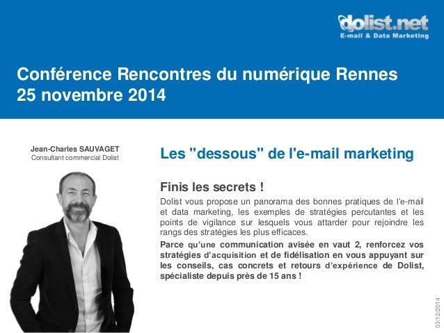 """Jean-Charles SAUVAGET  Consultant commercial Dolist  Conférence Rencontres du numérique Rennes 25 novembre 2014  Les """"dess..."""