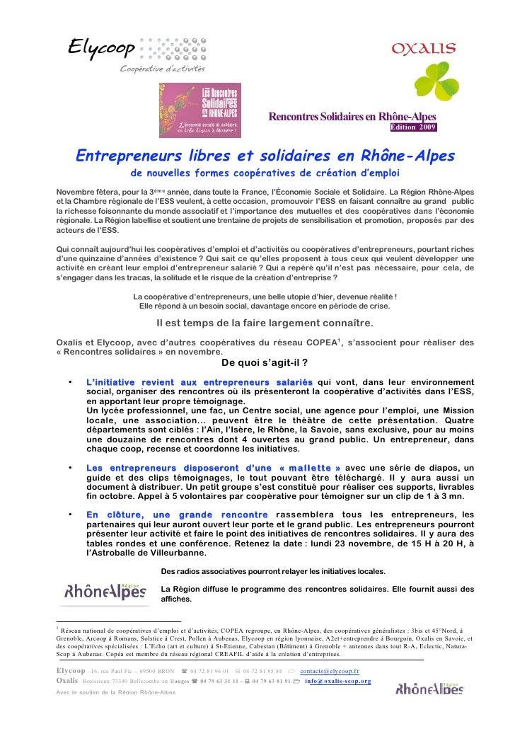 Entrepreneurs libres et solidaires en Rhone-Alpes - Infodoc