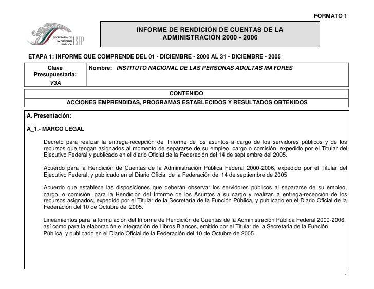 FORMATO 1                                             INFORME DE RENDICIÓN DE CUENTAS DE LA                               ...