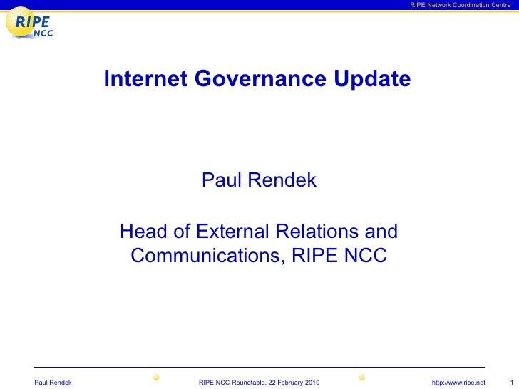 RIPE NCC Internet Governance Update