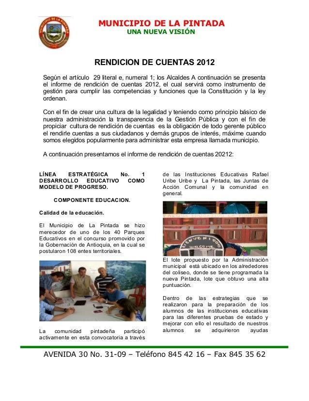 MUNICIPIO DE LA PINTADA                                  UNA NUEVA VISIÓN                     RENDICION DE CUENTAS 2012 Se...
