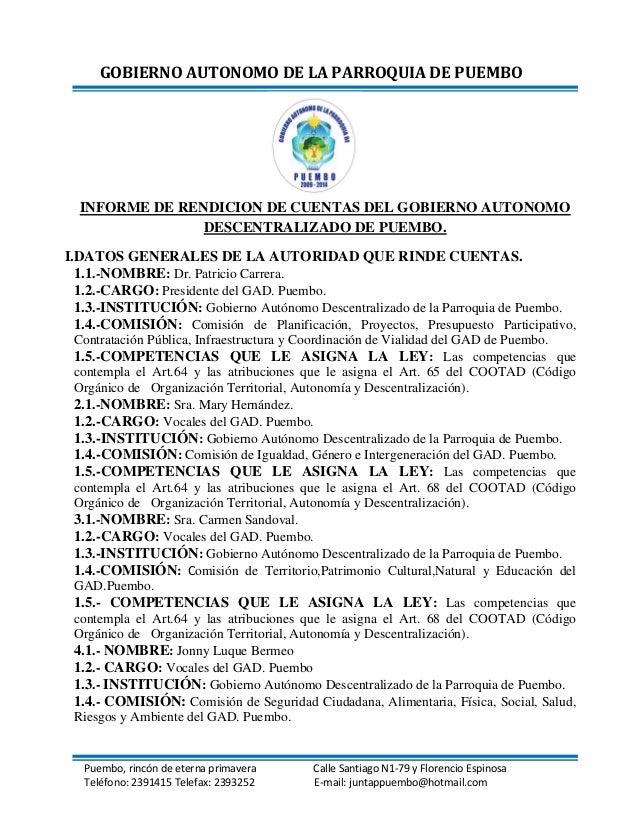 GOBIERNO AUTONOMO DE LA PARROQUIA DE PUEMBO Puembo, rincón de eterna primavera Calle Santiago N1-79 y Florencio Espinosa T...