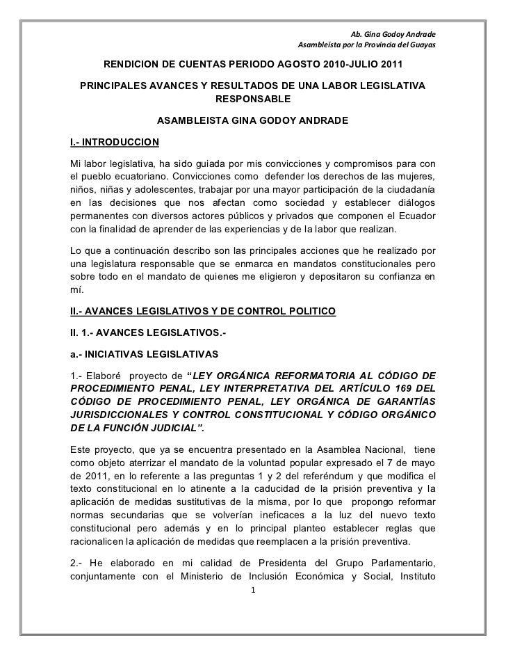 Rendicion de cuentas periodo agosto 2010 s