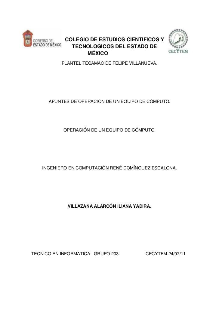 COLEGIO DE ESTUDIOS CIENTIFICOS Y              TECNOLOGICOS DEL ESTADO DE                   MÉXICO           PLANTEL TECAM...