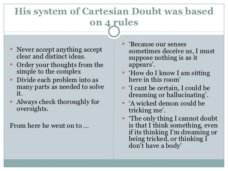 a demonstration of descartes concept of doubt in the second meditations