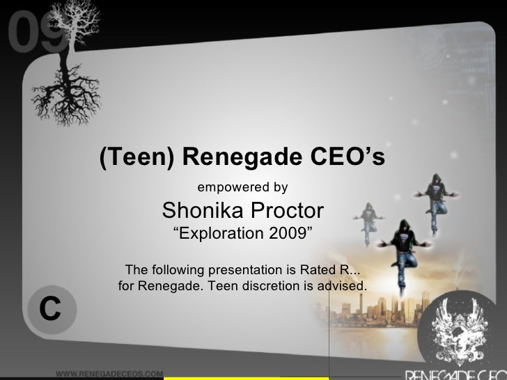 """(Teen) Renegade CEO's                   empowered by             Shonika Proctor               """"Exploration 2009""""        T..."""