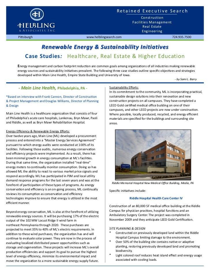 Renewable Energy & Sustainability Initiatives Case Studies: Healthcare, Higher Education & Owner