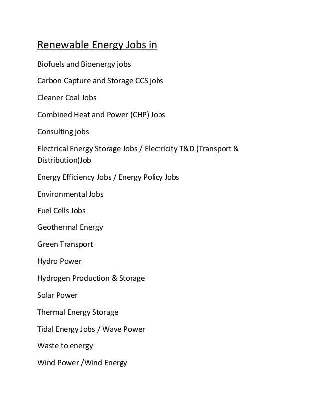 Renewable Energy Jobs in Biofuels and Bioenergy jobs Carbon Capture and Storage CCS jobs Cleaner Coal Jobs Combined Heat a...