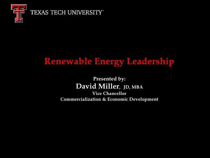 Renewable energy leadership condensed