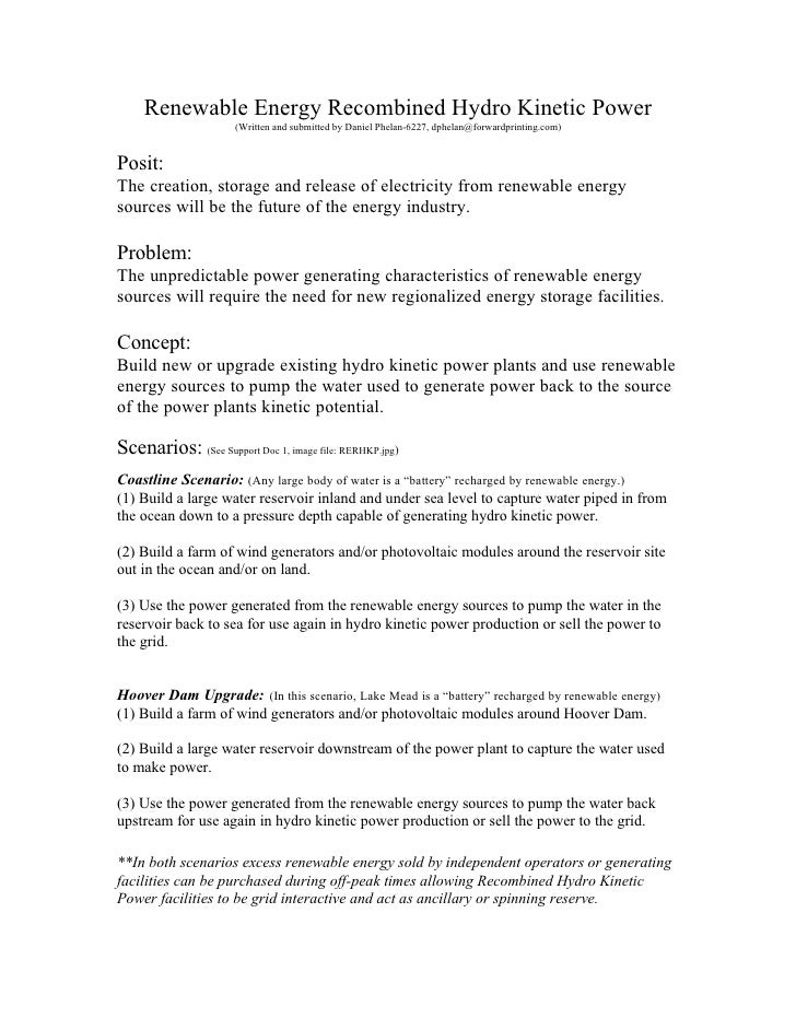 Renewable Energy Recombined Hydro Kinetic Power                       (Written and submitted by Daniel Phelan-6227, dphela...