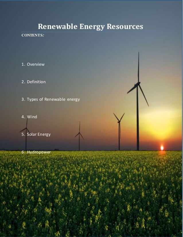 types of energy and energy resources essay