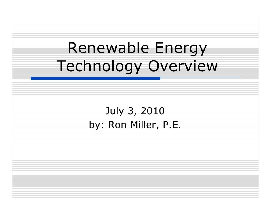 Renewable Energy Technology Overview