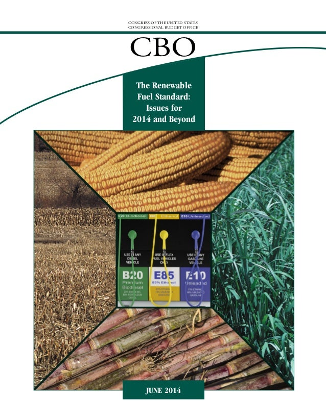 CONGRESS OF THE UNITED STATES CONGRESSIONAL BUDGET OFFICE CBO The Renewable Fuel Standard: Issues for 2014 and Beyond JUNE...