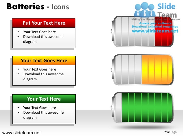 Batteries - Icons          Put Your Text Here      •   Your Text Goes here      •   Download this awesome          diagram...