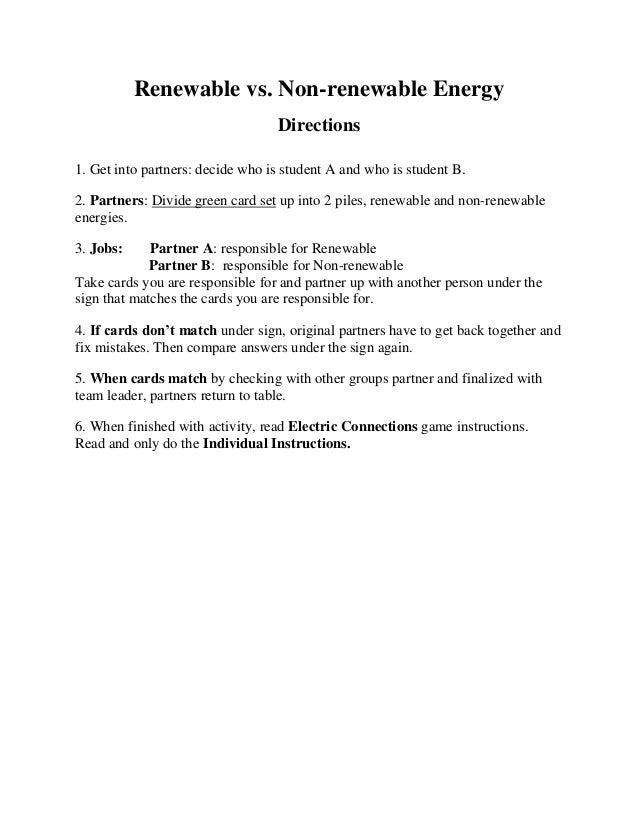 Renewable vs non renewable energy card game directions