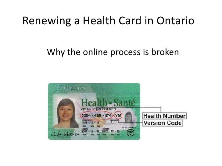 Renewing a Health Card in Ontario    Why the online process is broken