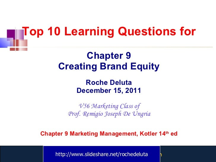 Top 10 Learning Questions for Chapter 9 Creating Brand Equity Roche Deluta December 15, 2011 V56 Marketing Class of Prof. ...