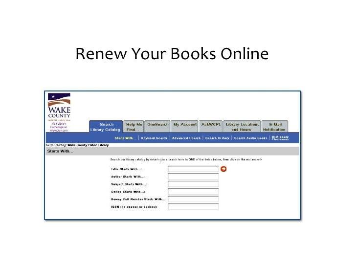 Renew your books online