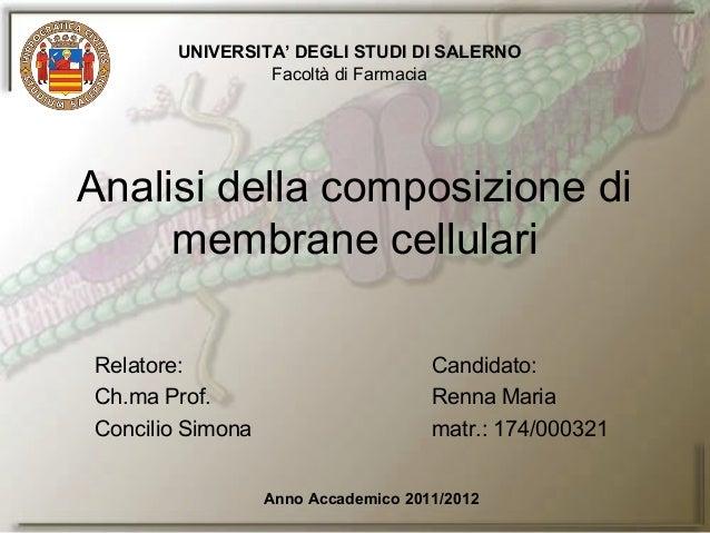Relatore: Candidato:Ch.ma Prof. Renna MariaConcilio Simona matr.: 174/000321Analisi della composizione dimembrane cellular...