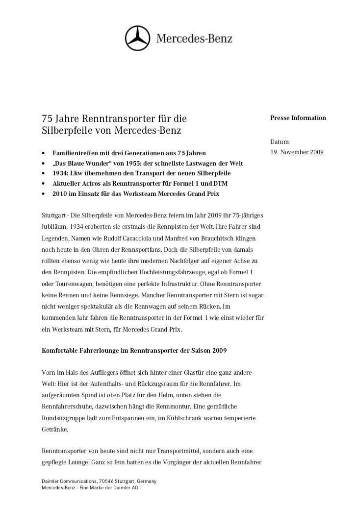 75 Jahre Renntransporter für die                                                     Presse InformationSilberpfeile von Me...