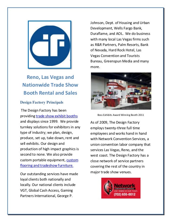 Reno, las vegas and nationwide trade show booth rental and sales