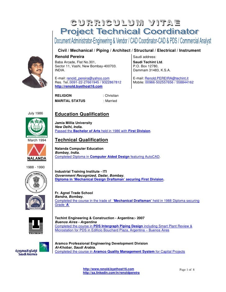 Civil / Mechanical / Piping / Architect / Structural / Electrical / Instrument              Renold Pereira                ...