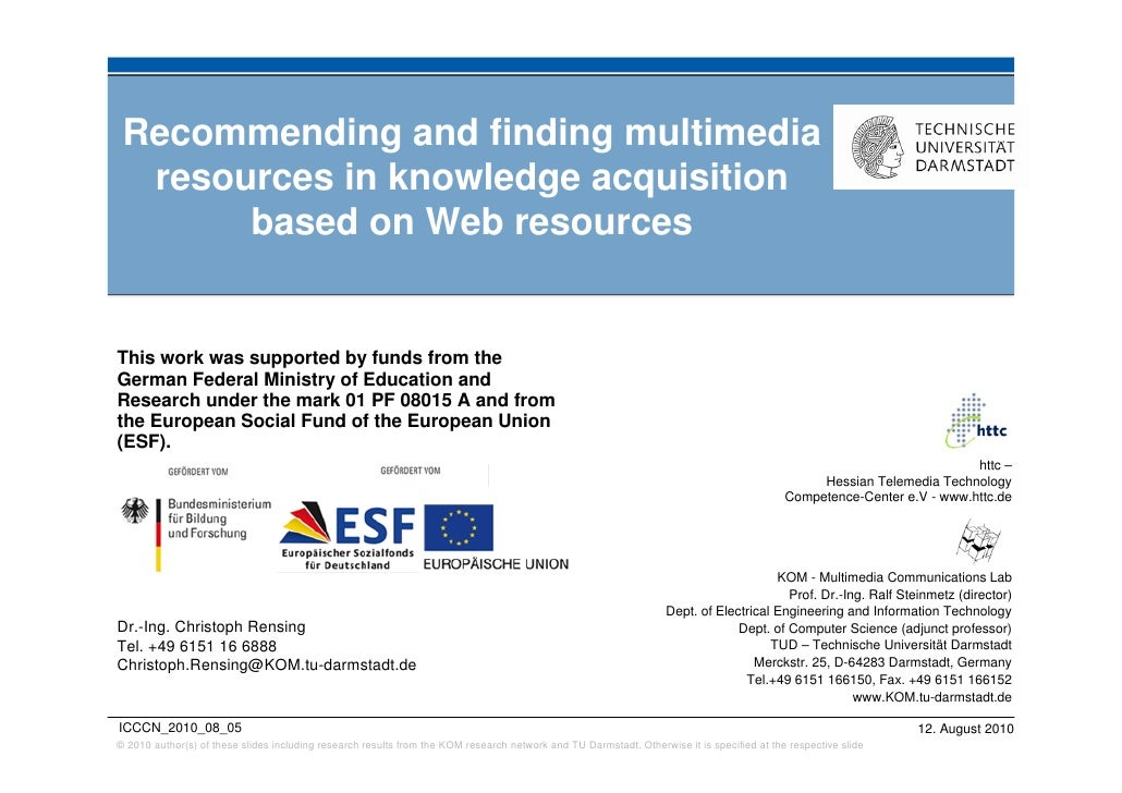 Recommending and finding multimedia   resources in knowledge acquisition        based on Web resources   This work was sup...
