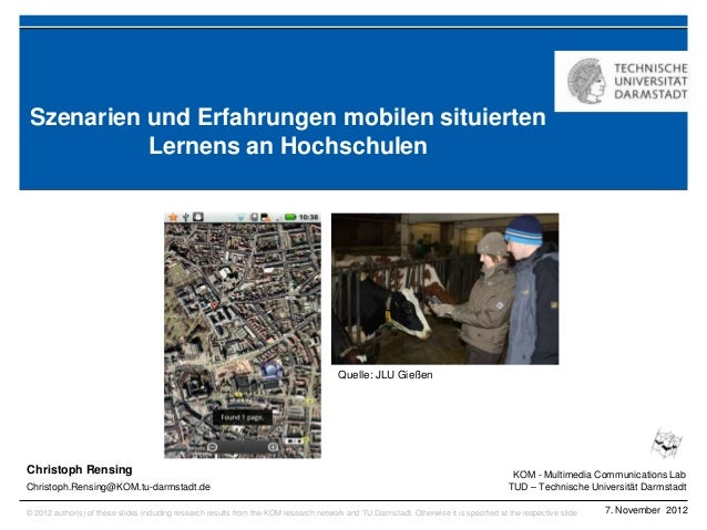 Szenarien und Erfahrungen mobilen situierten          Lernens an Hochschulen                                              ...